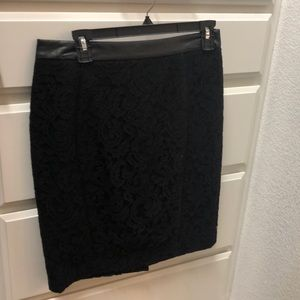 Ann Taylor leather and lace skirt